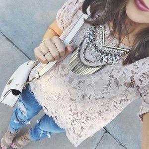 LOFT Mauve Lace Top